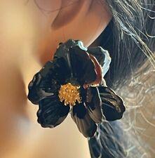 Gorgeous 3D Black Enameled Orchid Flower Statement Pierced Earrings