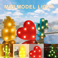Mini LED Night Light Pineapple Cactus Love Table Desktop Lamp Room Decor Gift