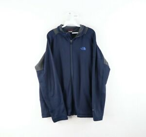 The North Face Mens XL FlashDry Spell Out Color Block Full Zip Jacket Navy Blue