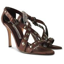 MANOLO BLAHNIK Ningia Studded Leather Sandals - Brown - Size 38