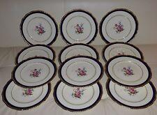 12 Royal Doulton English Porcelain Gold and Cobalt Plates w Floral Decoration