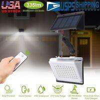 88LED Solar PIR Motion Sensor Wall Light Sound Remote Control Lamp Waterproof