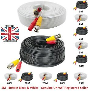 1M-40M BNC Video Data Power CCTV DC Security Camera DVR Record Extension Cable