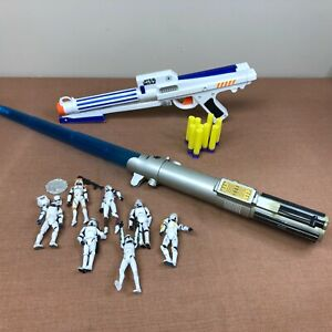 Lot of Vintage Star Wars Toys - 7 Figurines, Lightsaber, Storm Troopers Dart Gun