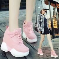 Korean Women's Girls Wedge High-top Heels Platform Casual Fashion Sneakers Shoes