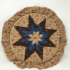 """Vintage Hand Pieced Quilted Folded Star Fabric Embroidery Hoop Wall Decor 12"""""""