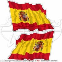 "SPAIN Spanish Waving National Flag ESPANA Bumper, Decals Stickers 3"" (75mm) x2"