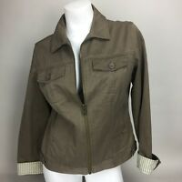 Tommy Hilfiger Womens Large Brown khaki tan cotton zip front  jacket