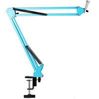 5 Core Adjustable Flexible Microphone Suspension Boom Scissor Arm Stand Blue