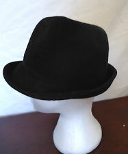 Vtg 70s Black Felt Stingy Wired Curled Brim Womens Hat Paris Import Sloped Crown