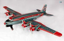 Rare Large NWA Northwest Airlines 4 Prop Engine Tin Toy Airplane Asahi Japan