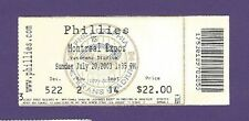 7/20/2003 Montreal Expos @ Philadelphia Phillies Baseball Ticket Stub