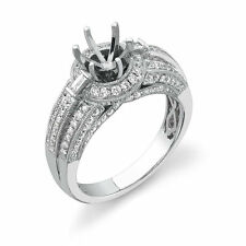Not Enhanced 18k White Gold Solitaire with Accents Fine Diamond Rings