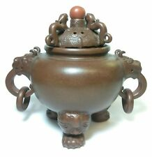 ANTIQUE 19TH C CHINESE YIXING  POTTERY ZISHA WARE CENSER & LID DRAGONS BATS