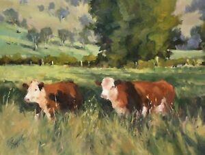 'HEREFORDS' Original Oil Painting by Award Winning Artist ROS PSAKIS