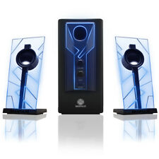 Computer Speaker Sound System (REFURBISHED) with Glowing Blue LED Accents