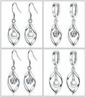 Swirl Leaf Pearl Drop Hoop Dangle Earrings 925 Sterling Silver Womens Jewellery