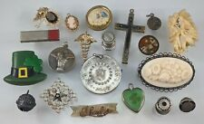 20pc Antique & Victorian Jewelry Cross Pin Medal Heart Cameo Vtg Estate Lot A