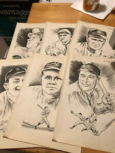 1951 Baseball ATG Drawing Ty Cobb - Detroit Tigers