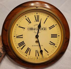 "11"" Cobb & Co Wall Clock. Solid Walnut Base w/ Brass Glass Made in Australia"