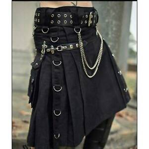 Scottish Black Modern Kilt 16th Century Stylish Cotton Utility Kilts For Men