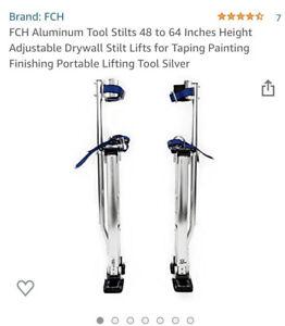 Silver 48-64 Inch Drywall Stilts Aluminum Tool Stilt For Painting Painter Taping