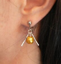 Harry Potter Golden Snitch Earrings Hogwarts Quidditch Clip-on No Piercing Xmas