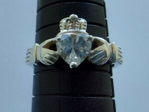 Sterling Silver 925 Celtic Irish Claddagh Cubic Zirconia heart Ring Size O