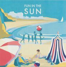 Fun In The Sun Seaside Art Deco Devon Cornwall Blank Birthday Anniversary Card