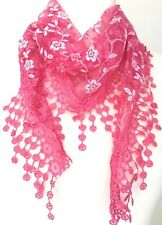 Lace Triangle Scarf Pink White Vintage Style Scarf Cerise Sparkly Tassel Trim