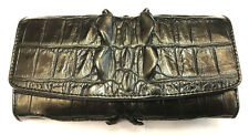 Genuine Crocodile Wallets Alligator Leather Tail Trifold Women's Black Clutch