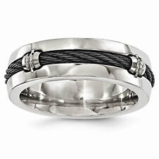 Unisex Edward Mirell Titanium & Cable Polished 7mm Band