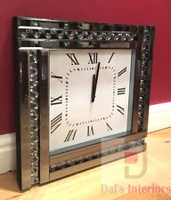 NEW Smoke Glitz Crystal Bevelled Mirrored Glass Silver Square Wall Clock 45x45cm