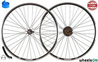 QR 700c 29er wheelsON Front Rear Wheel Set 6/7/8 Spd Shimano Freewheel Black