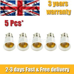 5Pcs B22 to E27 EDISON Screw Adapter Converter Lamp Light Bulb BAYONET Cap UK