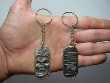 Iron Maden Eddie Keychain Keyring Key doble sided Pendant Pewter Silver 011