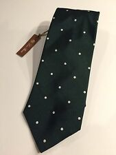 200$ Loro Piana Dot Dark Green 100% Silk Tie Made in Italy