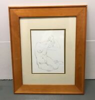 "Vintage Original Pencil Drawing Nude Female Sketch Antique with Frame 21"" x 25"""