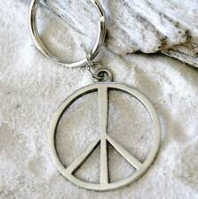 HIPPIE PEACE SIGN LOVE Pewter KEYCHAIN Key Ring