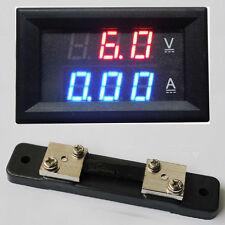 Digital led Amp Volt Combo Meter 50A 4.5-30V Voltage +50A/75mV Shunt F/12v car B