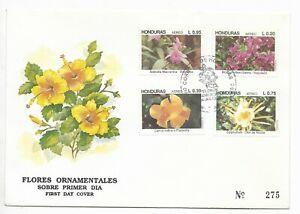 HONDURAS 1992 ORCHIDS FLOWERS COMPLETE SET OF 4 ON FDC FIRST DAY COVER