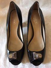 Coach Helaine Black Patent Leather Open-toe Pumps Heels Shoes 7 B