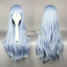Light Blue Mixed White Collection 75cm Halloween Anime Cosplay Hair + Wig Cap