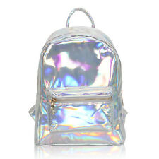 Womens Hologram Holographic PVC Silver Laser PU Leather Schoolbags Backpack Bag