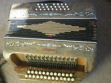 Beautifully decorated, old button accordion , needs repair