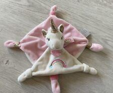 Doudou Plat Licorne Happy Rose Blanc Arc En Ciel Brodée Doudou Et Compagnie