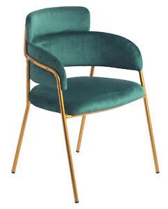New Bold Tones Green Silk Velvet Modern Gold Metal Chair
