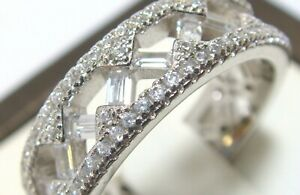 925 Sterling Silver Simulated Diamond Eternity Wedding Band Ring Size 9 Platinum