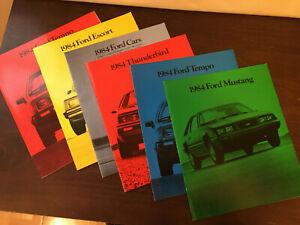 1984 Ford Auto Sales Showroom Brochure, lot of 6, Mustang, Tempo, T-Bird, Escort