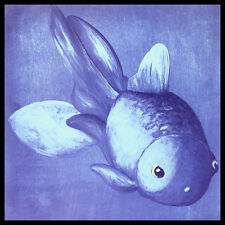 Blauer pez dorado póster imagen son impresiones artísticas con marco de aluminio en negro 60x60cm